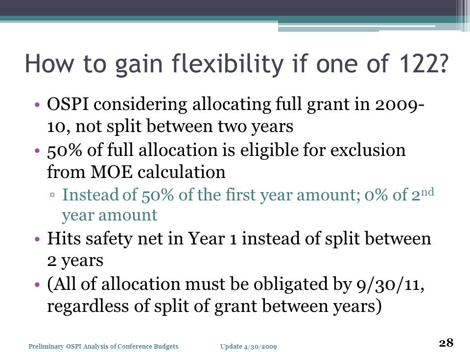 How to gain flexibility if one of 122? OSPI considering allocating full grant in 2009- 10, not split between two years 50% of full allocation is eligi