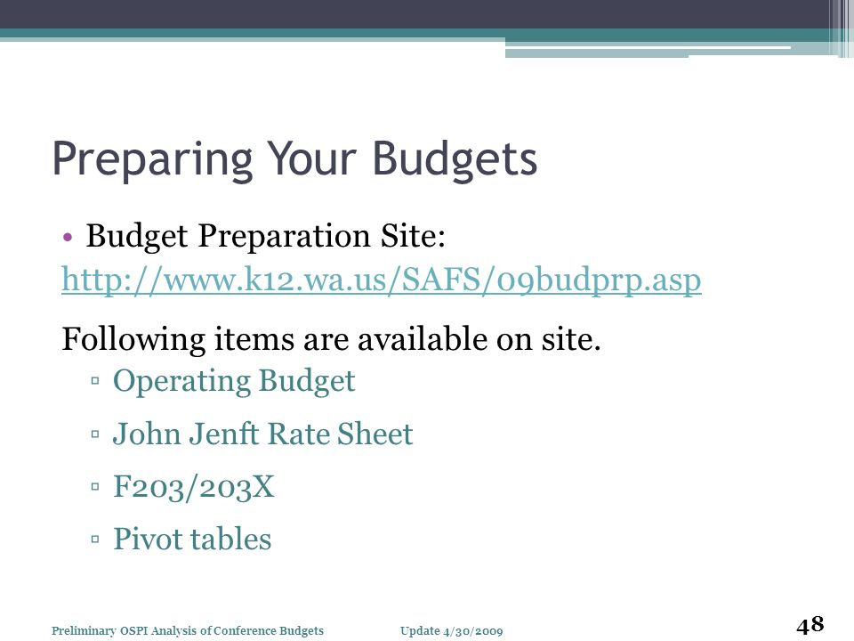 Preparing Your Budgets Budget Preparation Site: http://www.k12.wa.us/SAFS/09budprp.asp Following items are available on site. Operating Budget John Je
