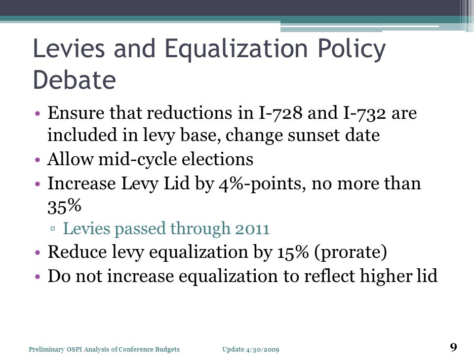 Levies and Equalization Policy Debate Ensure that reductions in I-728 and I-732 are included in levy base, change sunset date Allow mid-cycle election