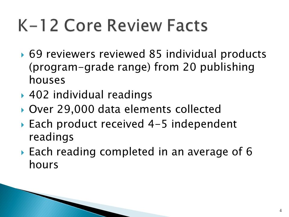 69 reviewers reviewed 85 individual products (program-grade range) from 20 publishing houses 402 individual readings Over 29,000 data elements collect