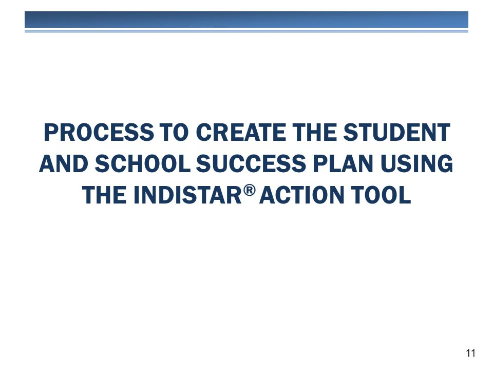 PROCESS TO CREATE THE STUDENT AND SCHOOL SUCCESS PLAN USING THE INDISTAR ® ACTION TOOL 11