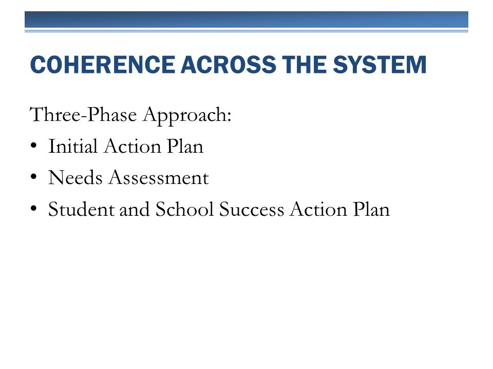 Three-Phase Approach: Initial Action Plan Needs Assessment Student and School Success Action Plan COHERENCE ACROSS THE SYSTEM