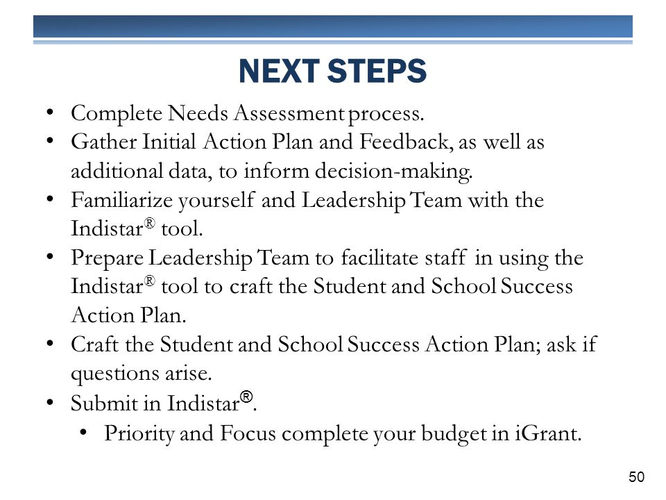NEXT STEPS 50 Complete Needs Assessment process.