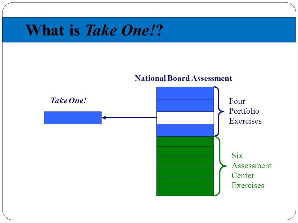 What is Take One!. 21 Four Portfolio Exercises Six Assessment Center Exercises Take One.