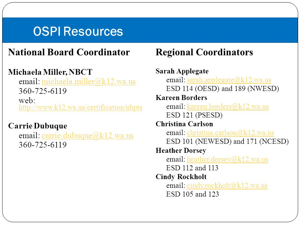 OSPI Resources National Board Coordinator Michaela Miller, NBCT email: michaela.miller@k12.wa.usmichaela.miller@k12.wa.us 360-725-6119 web: http://www.k12.wa.us/certification/nbpts http://www.k12.wa.us/certification/nbpts Carrie Dubuque email: carrie.dubuque@k12.wa.uscarrie.dubuque@k12.wa.us 360-725-6119 Regional Coordinators Sarah Applegate email: sarah.applegate@k12.wa.ussarah.applegate@k12.wa.us ESD 114 (OESD) and 189 (NWESD) Kareen Borders email: kareen.borders@k12.wa.uskareen.borders@k12.wa.us ESD 121 (PSESD) Christina Carlson email: christina.carlson@k12.wa.uschristina.carlson@k12.wa.us ESD 101 (NEWESD) and 171 (NCESD) Heather Dorsey email: heather.dorsey@k12.wa.usheather.dorsey@k12.wa.us ESD 112 and 113 Cindy Rockholt email: cindy.rockholt@k12.wa.uscindy.rockholt@k12.wa.us ESD 105 and 123