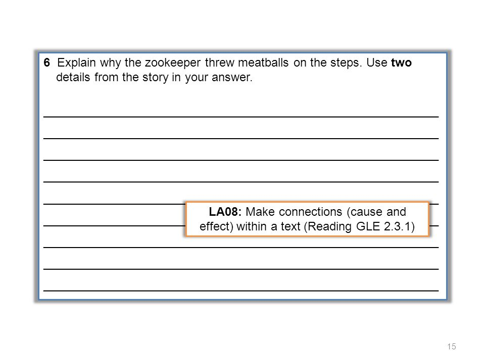 2A 2-point response provides two text-based details to explain why the zookeeper threw meatballs on the steps.