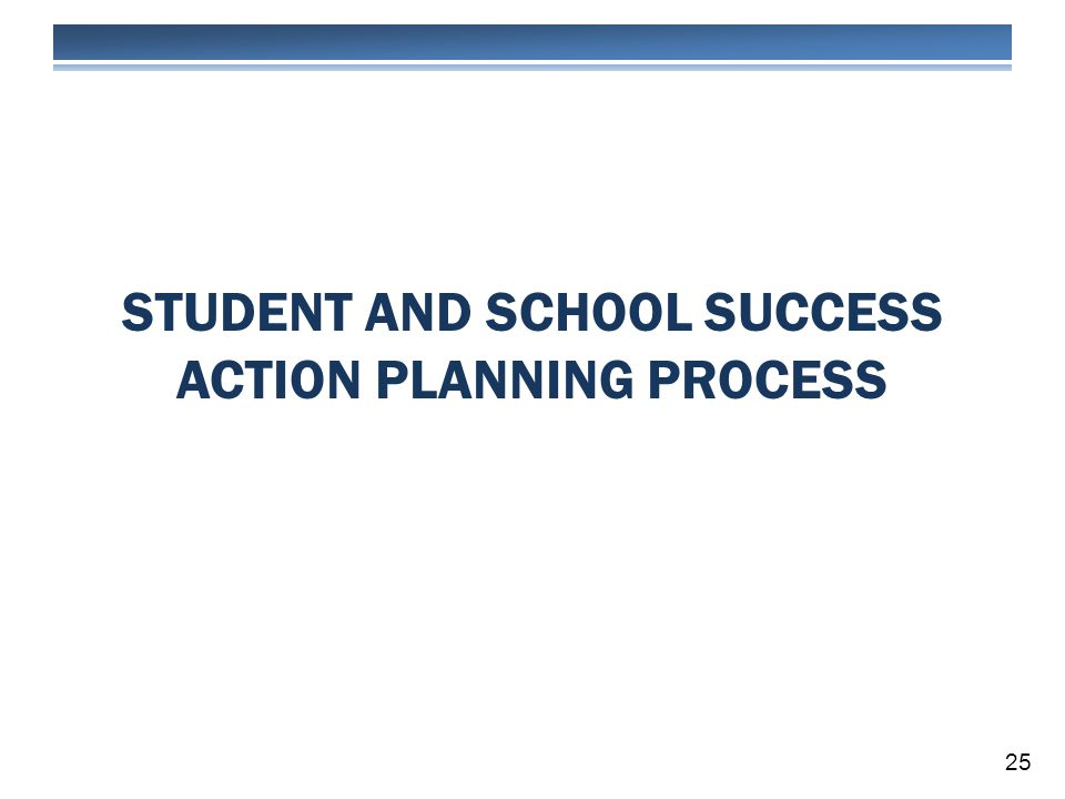STUDENT AND SCHOOL SUCCESS ACTION PLANNING PROCESS 25