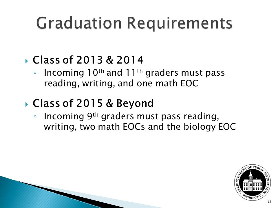 Class of 2013 & 2014 Incoming 10 th and 11 th graders must pass reading, writing, and one math EOC Class of 2015 & Beyond Incoming 9 th graders must p