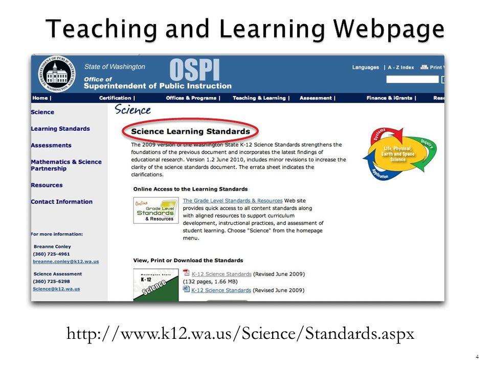 http://www.k12.wa.us/Science/Standards.aspx 4