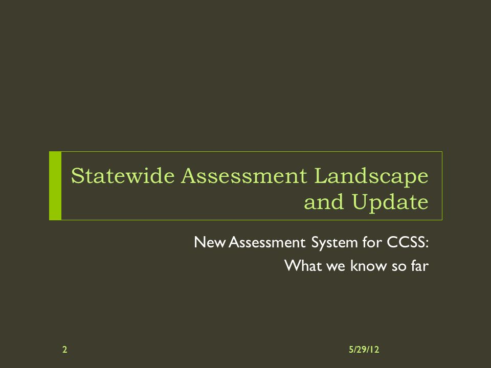 Statewide Assessment Landscape and Update New Assessment System for CCSS: What we know so far 5/29/122