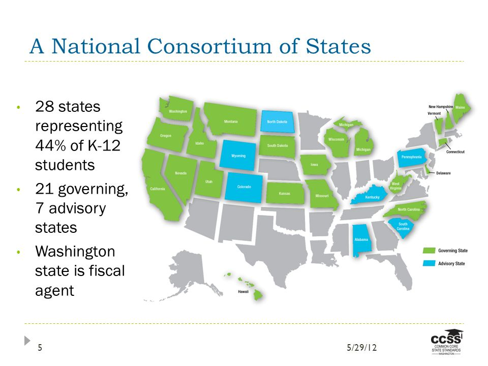 A National Consortium of States 28 states representing 44% of K-12 students 21 governing, 7 advisory states Washington state is fiscal agent 5/29/125