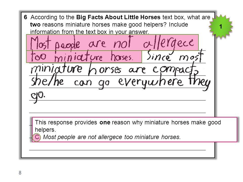 6 According to the Big Facts About Little Horses text box, what are two reasons miniature horses make good helpers? Include information from the text