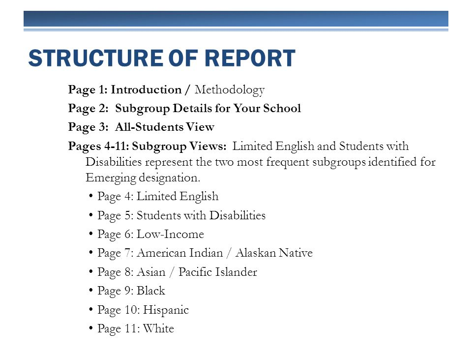 Page 1: Introduction / Methodology Page 2: Subgroup Details for Your School Page 3: All-Students View Pages 4-11: Subgroup Views: Limited English and