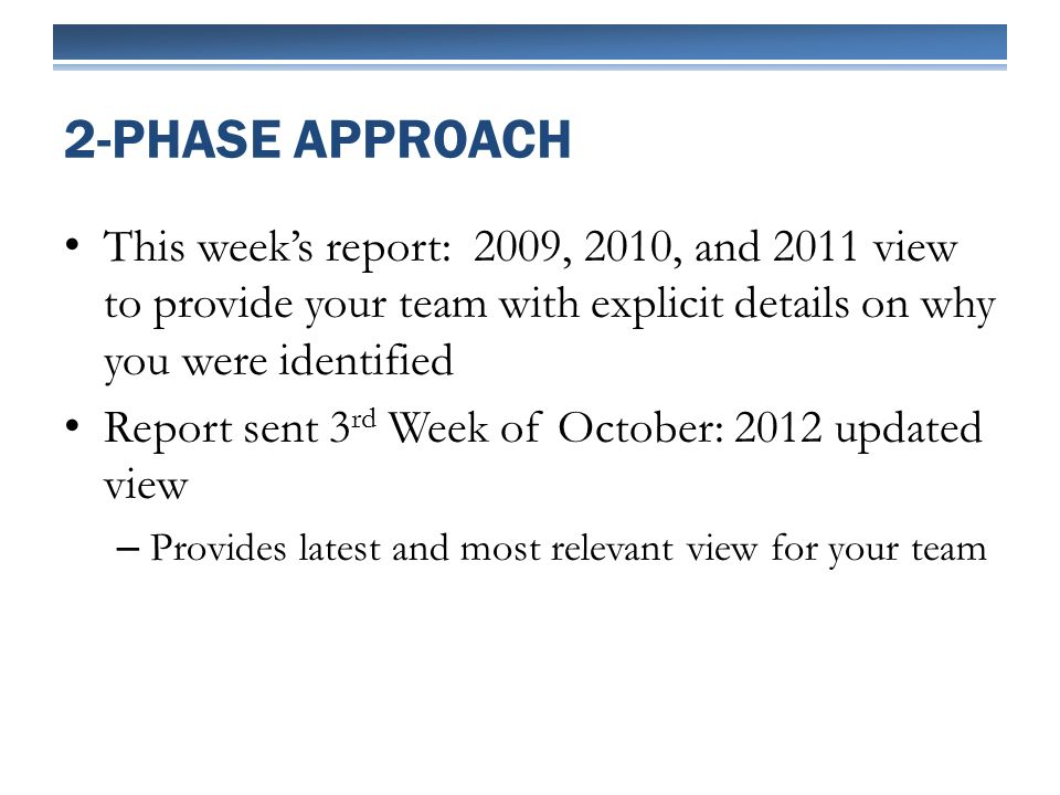 This weeks report: 2009, 2010, and 2011 view to provide your team with explicit details on why you were identified Report sent 3 rd Week of October: 2