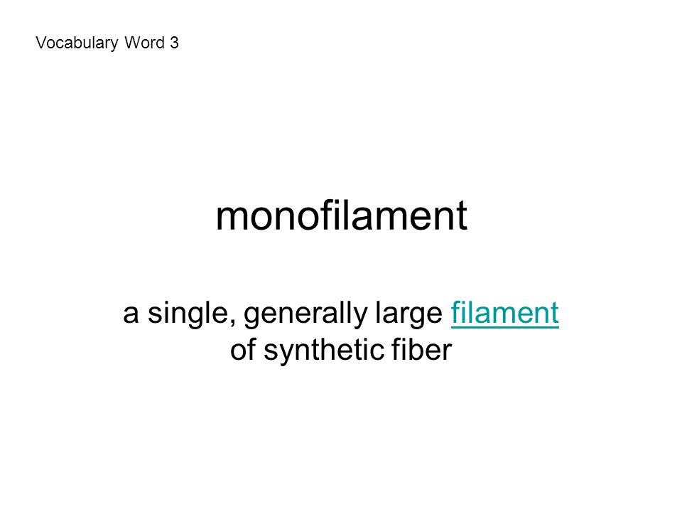 monofilament a single, generally large filament of synthetic fiberfilament Vocabulary Word 3