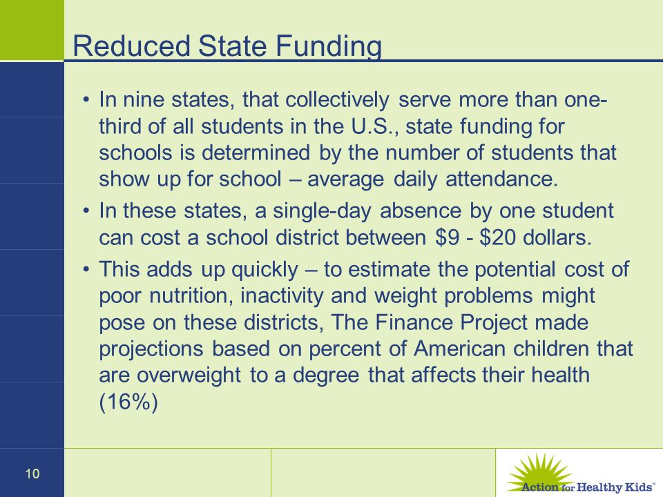 10 Reduced State Funding In nine states, that collectively serve more than one- third of all students in the U.S., state funding for schools is determined by the number of students that show up for school – average daily attendance.