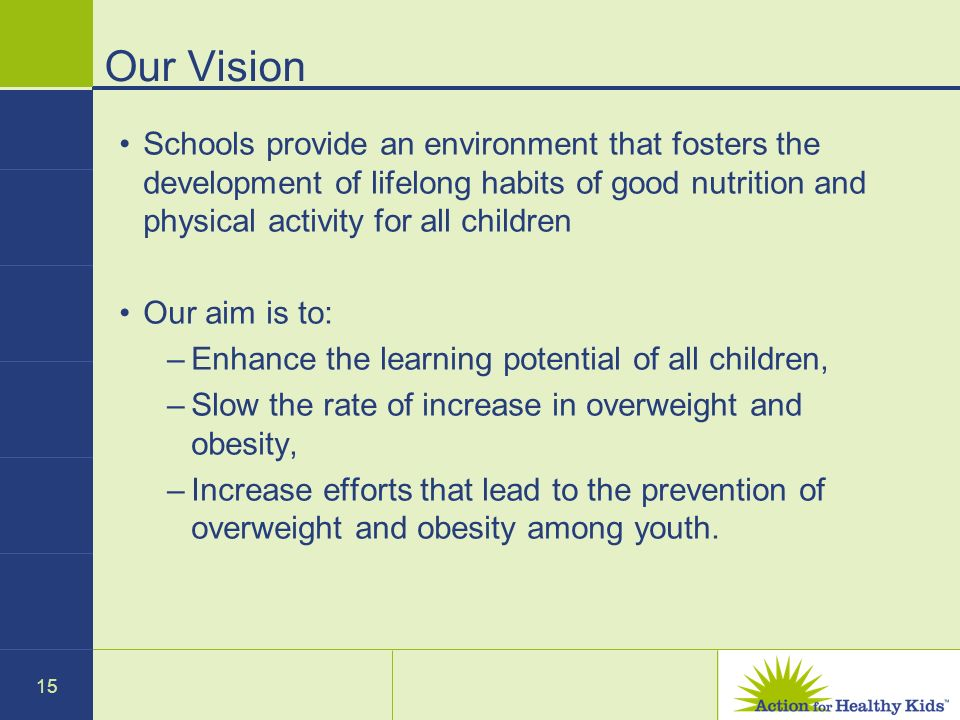 15 Our Vision Schools provide an environment that fosters the development of lifelong habits of good nutrition and physical activity for all children