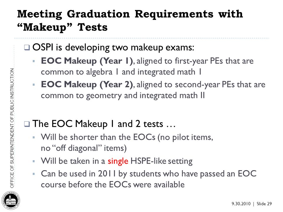 9.30.2010 | Slide 29 OFFICE OF SUPERINTENDENT OF PUBLIC INSTRUCTION Meeting Graduation Requirements with Makeup Tests OSPI is developing two makeup exams: EOC Makeup (Year 1), aligned to first-year PEs that are common to algebra 1 and integrated math 1 EOC Makeup (Year 2), aligned to second-year PEs that are common to geometry and integrated math II The EOC Makeup 1 and 2 tests … Will be shorter than the EOCs (no pilot items, no off diagonal items) Will be taken in a single HSPE-like setting Can be used in 2011 by students who have passed an EOC course before the EOCs were available