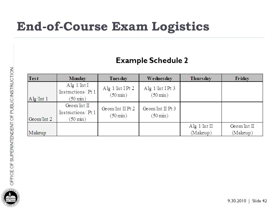 9.30.2010 | Slide 42 OFFICE OF SUPERINTENDENT OF PUBLIC INSTRUCTION End-of-Course Exam Logistics Example Schedule 2