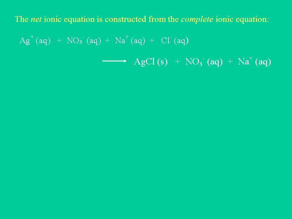 The net ionic equation is constructed from the complete ionic equation:
