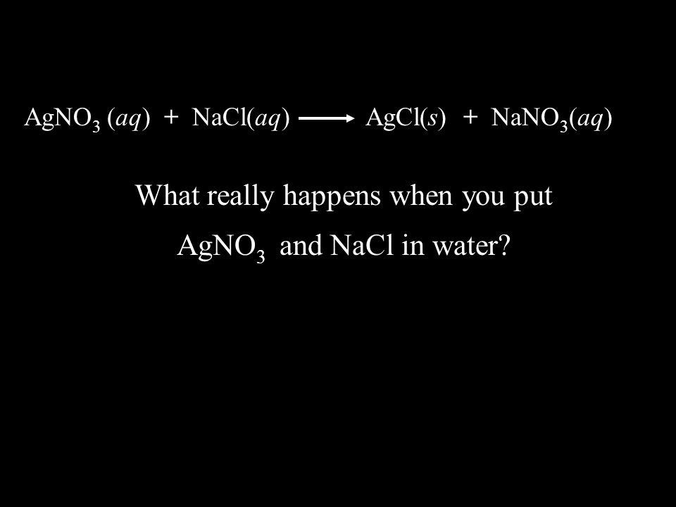 –Complete molecular equation- describes double replacement reaction –Complete ionic equation- more accurately shows the reacting species as ions and the products either as ions or a precipitate –Net ionic equation- focuses only on the ions REACTING –Spectator ions are those ions that do NOT participate in the reaction