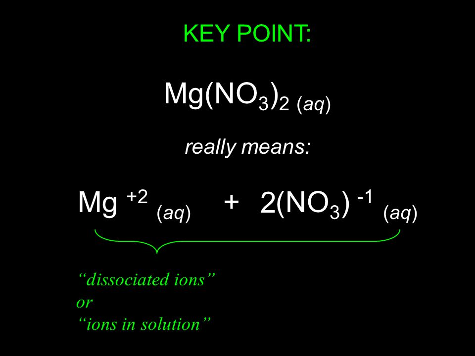 KEY POINT: Mg(NO 3 ) 2 (aq) really means: Mg +2 (aq) + (NO 3 ) -1 (aq) 2 dissociated ions or ions in solution
