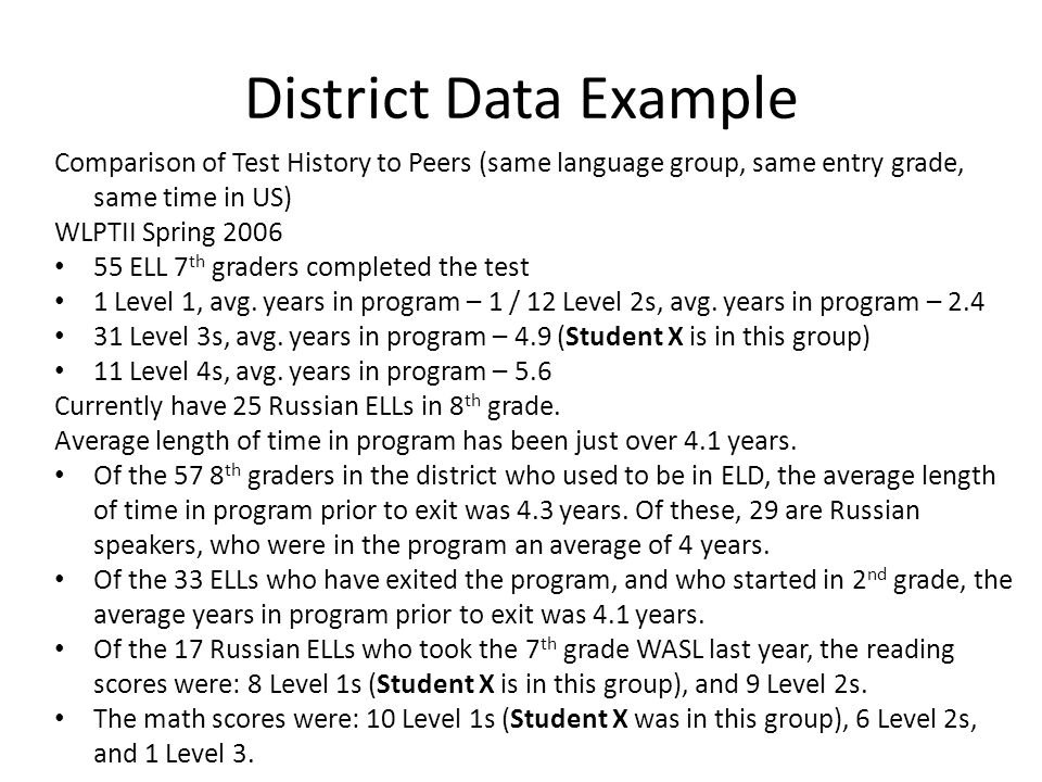 District Data Example Comparison of Test History to Peers (same language group, same entry grade, same time in US) WLPTII Spring 2006 55 ELL 7 th grad