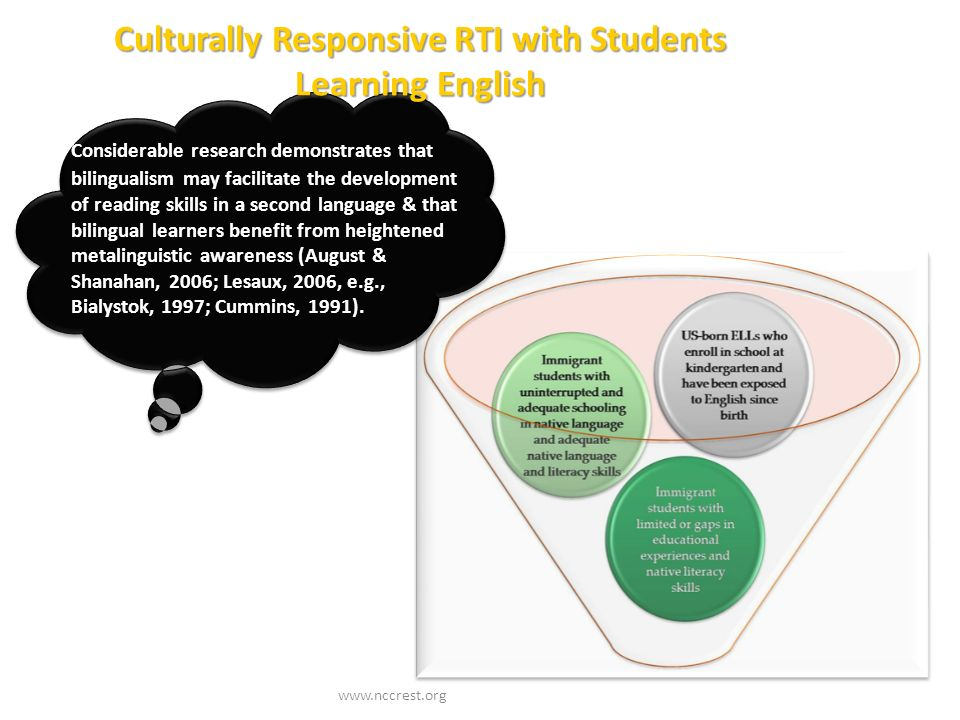 Culturally Responsive RTI with Students Learning English www.nccrest.org Considerable research demonstrates that bilingualism may facilitate the devel