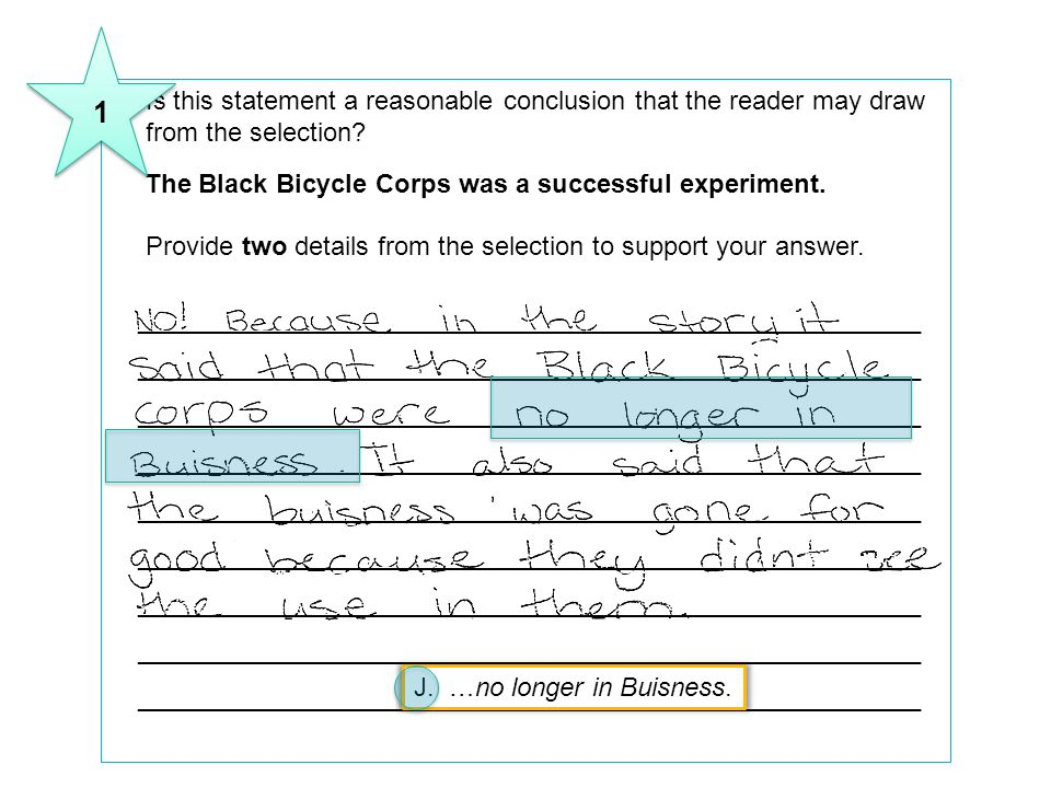8Is this statement a reasonable conclusion that the reader may draw from the selection? The Black Bicycle Corps was a successful experiment. Provide t