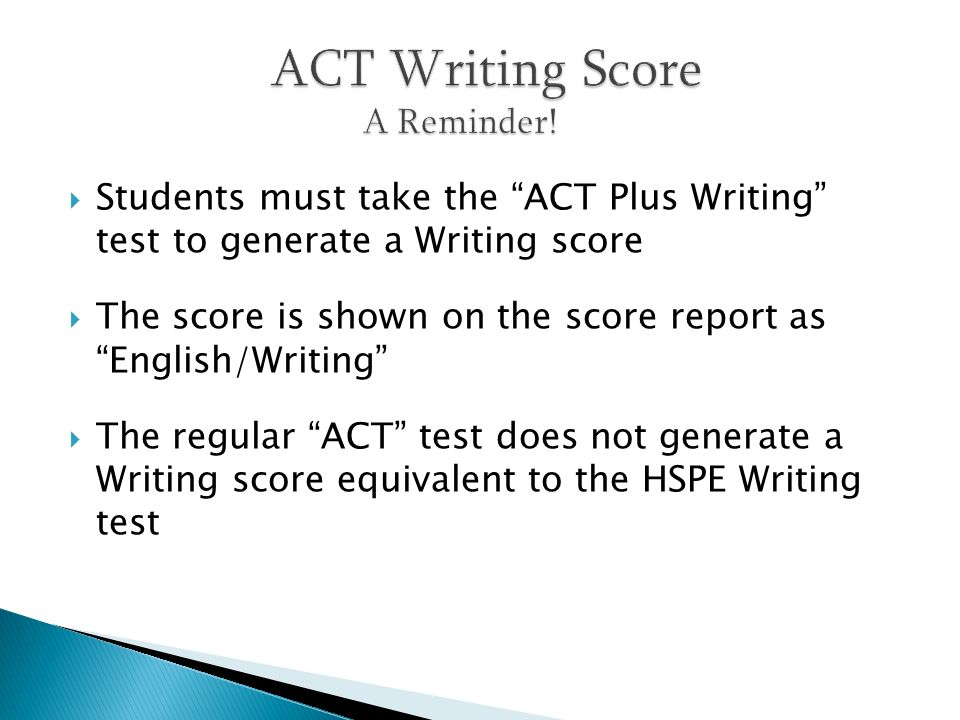 Students must take the ACT Plus Writing test to generate a Writing score The score is shown on the score report as English/Writing The regular ACT tes