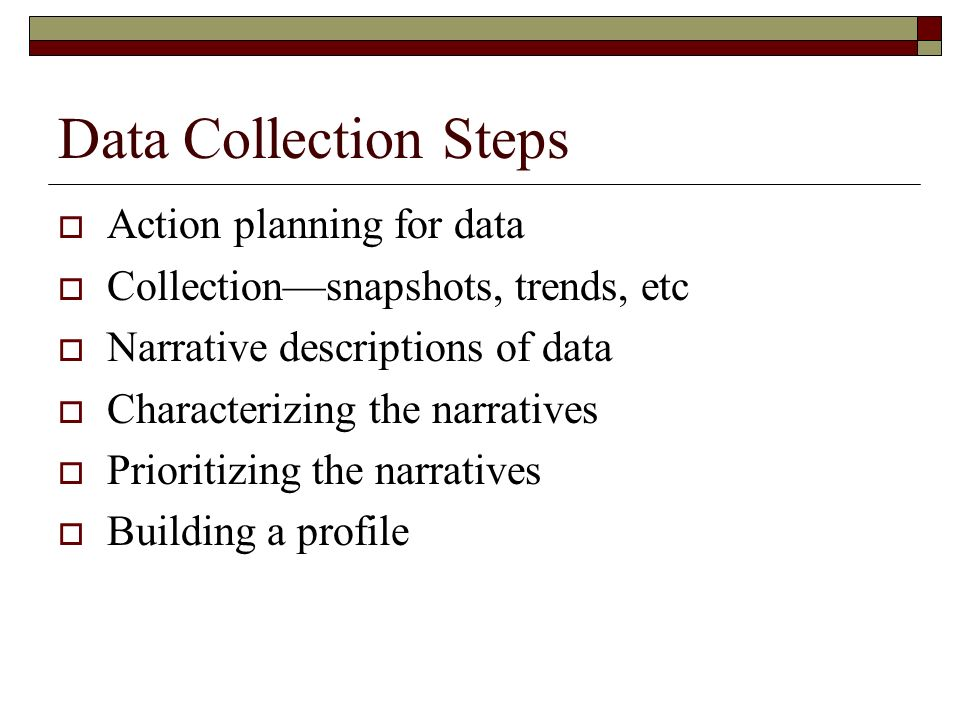 Data Collection Steps Action planning for data Collectionsnapshots, trends, etc Narrative descriptions of data Characterizing the narratives Prioritiz