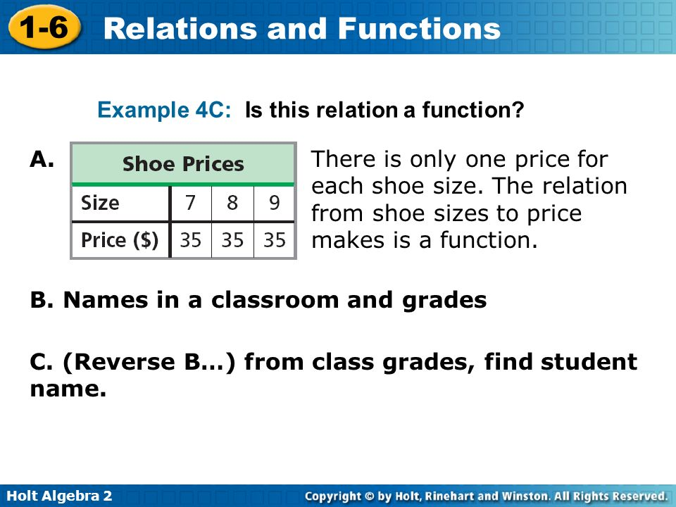 Holt Algebra 2 1-6 Relations and Functions Example 4C: Is this relation a function? A. B. Names in a classroom and grades There is only one price for