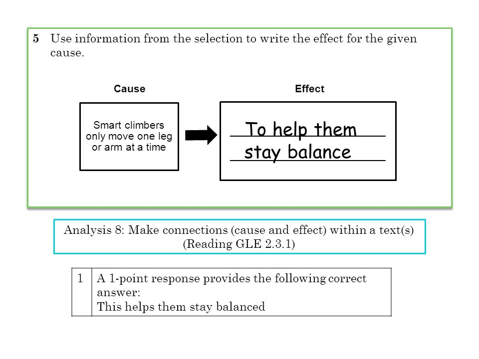 5 Use information from the selection to write the effect for the given cause.
