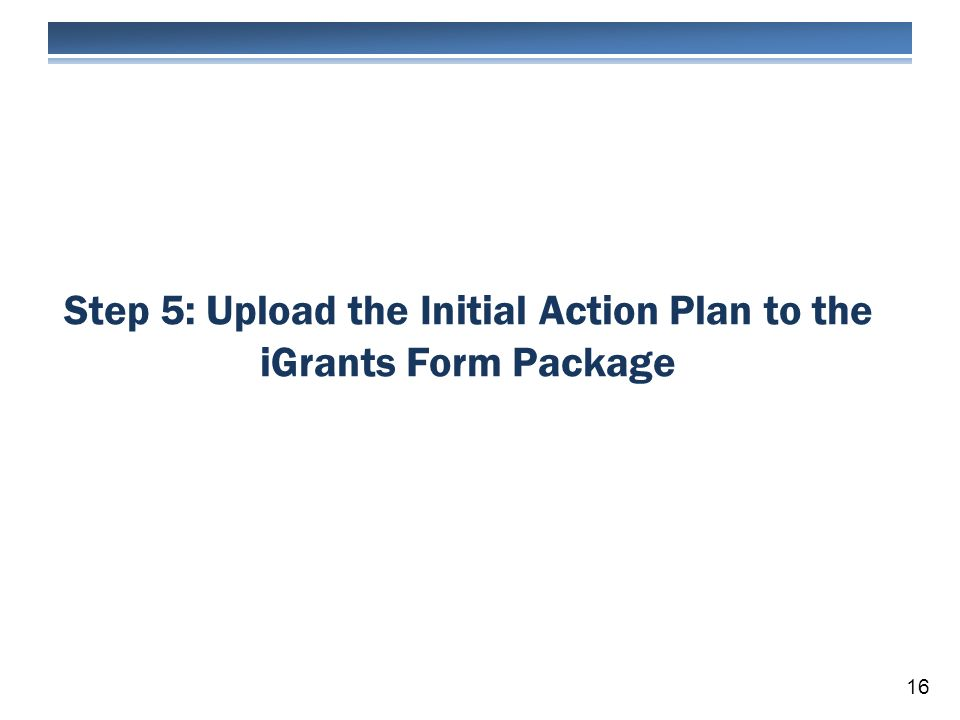 Step 5: Upload the Initial Action Plan to the iGrants Form Package 16