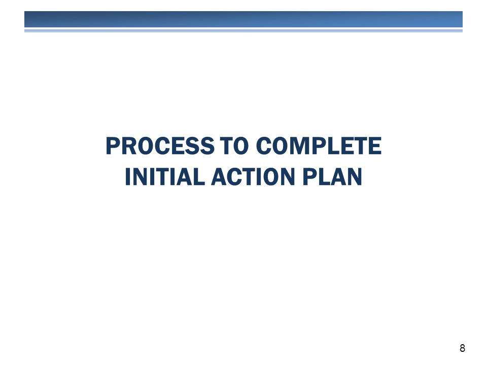PROCESS TO COMPLETE INITIAL ACTION PLAN 8