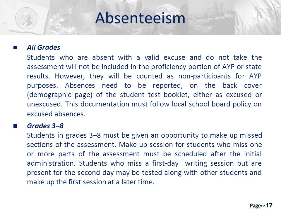n All Grades Students who are absent with a valid excuse and do not take the assessment will not be included in the proficiency portion of AYP or stat