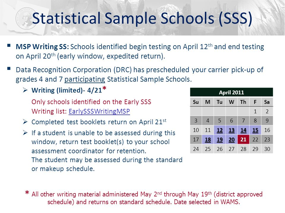 Statistical Sample Schools (SSS) MSP Writing SS: Schools identified begin testing on April 12 th and end testing on April 20 th (early window, expedit