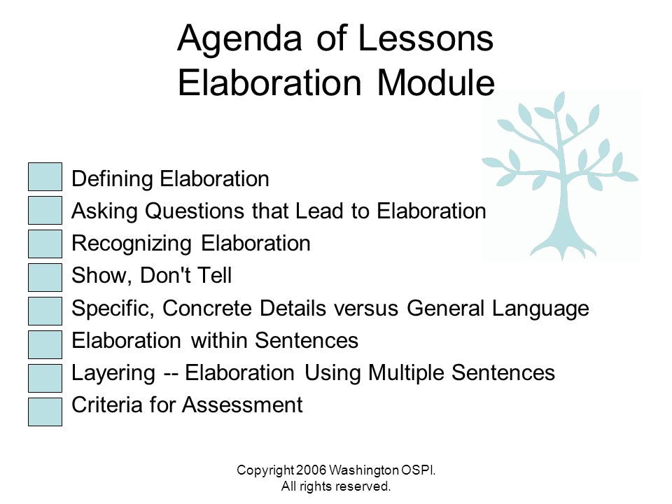 Copyright 2006 Washington OSPI. All rights reserved. Agenda of Lessons Elaboration Module Defining Elaboration Asking Questions that Lead to Elaborati