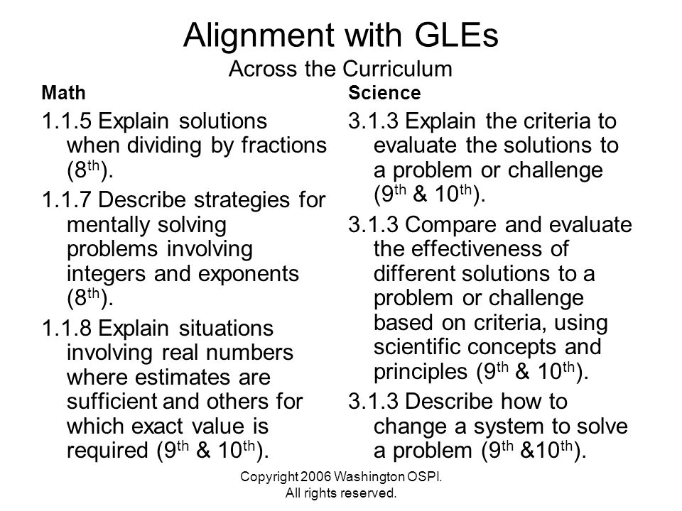 Copyright 2006 Washington OSPI. All rights reserved. Alignment with GLEs Across the Curriculum Math 1.1.5 Explain solutions when dividing by fractions