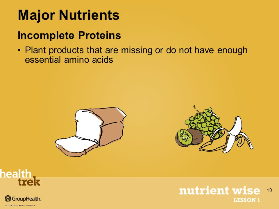 Incomplete Proteins Plant products that are missing or do not have enough essential amino acids Major Nutrients © 2009 Group Health Cooperative 10