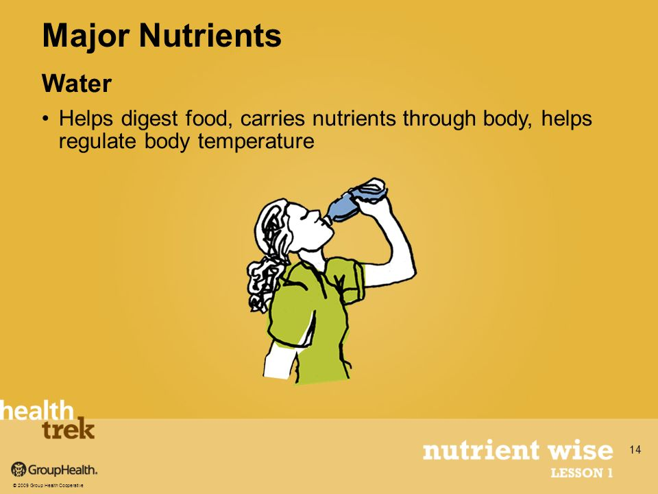 Water Helps digest food, carries nutrients through body, helps regulate body temperature Major Nutrients © 2009 Group Health Cooperative 14