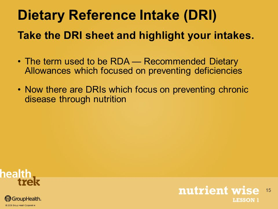 Take the DRI sheet and highlight your intakes.