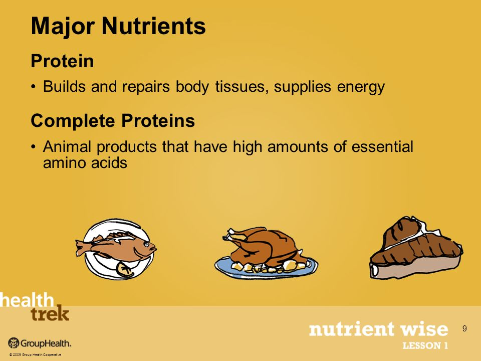 Protein Builds and repairs body tissues, supplies energy Complete Proteins Animal products that have high amounts of essential amino acids Major Nutrients © 2009 Group Health Cooperative 9