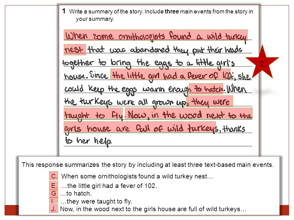 1 Write a summary of the story.Include three main events from the story in your summary.
