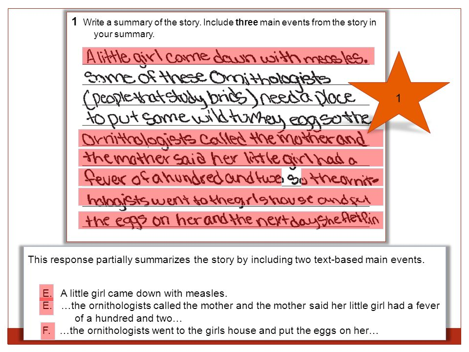 1 Write a summary of the story. Include three main events from the story in your summary. This response partially summarizes the story by including tw