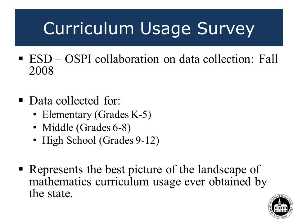 Curriculum Usage Survey ESD – OSPI collaboration on data collection: Fall 2008 Data collected for: Elementary (Grades K-5) Middle (Grades 6-8) High School (Grades 9-12) Represents the best picture of the landscape of mathematics curriculum usage ever obtained by the state.