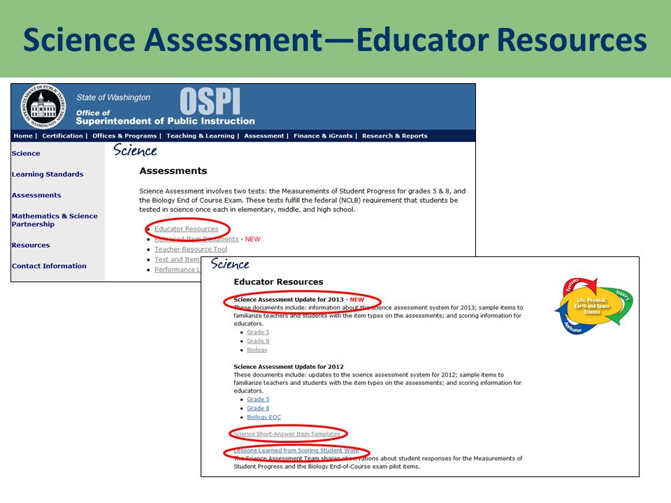 Science AssessmentEducator Resources