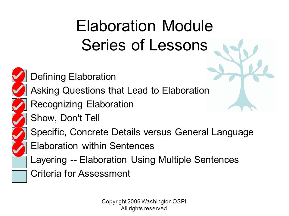Copyright 2006 Washington OSPI. All rights reserved. Elaboration Module Series of Lessons Defining Elaboration Asking Questions that Lead to Elaborati