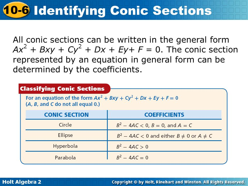 Holt Algebra 2 10-6 Identifying Conic Sections All conic sections can be written in the general form Ax 2 + Bxy + Cy 2 + Dx + Ey+ F = 0. The conic sec