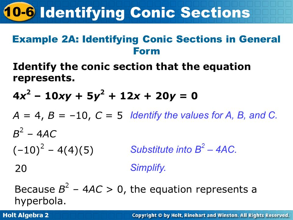 Holt Algebra 2 10-6 Identifying Conic Sections Identify the conic section that the equation represents. Example 2A: Identifying Conic Sections in Gene